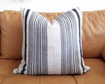 Indigo stripe hmong pillow cover