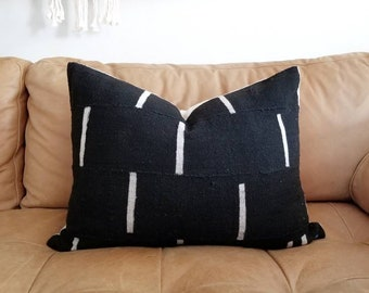 Black lines mudcloth pillow cover in various sizes