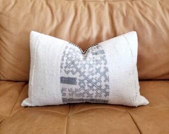 "12""×20"" gray hmong hemp+ cream mudcloth pillow cover"