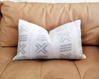 Grey print mudcloth pillow cover in various sizes