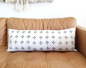 "13""x 35"" Mudcloth bed pillow cover"