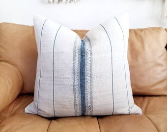 "20"" indigo stripe hemp linen hmong pillow cover"