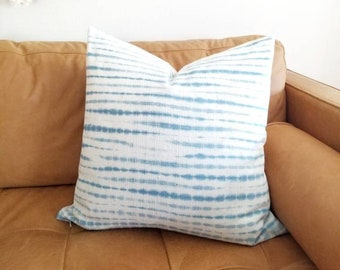 """22"""" Light indigo tie dye mudcloth pillow cover in various sizes"""