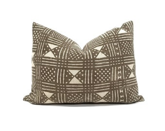 Muted brown vintage mudcloth pillow in various sizes