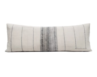"""13""""×35"""" Hmong grey print hemp linen bed pillow cover"""
