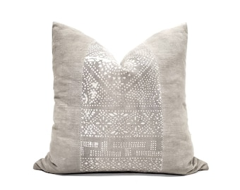 "20"" grey batik pillow, vintage Chinese pillow"