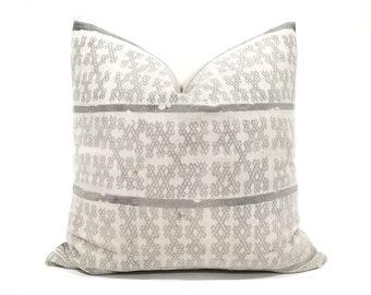 """20"""" grey batik hmong pillow cover"""