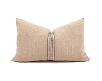 "13.5""×22"" blush pink stripe Asian textile cotton pillow cover with fringe"