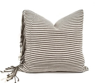"18"" fringe on side brown stripe Asian textile cotton pillow cover"
