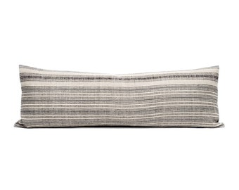 "12.25""×35"" faded black stripe hmong hemp XL lumbar pillow cover"