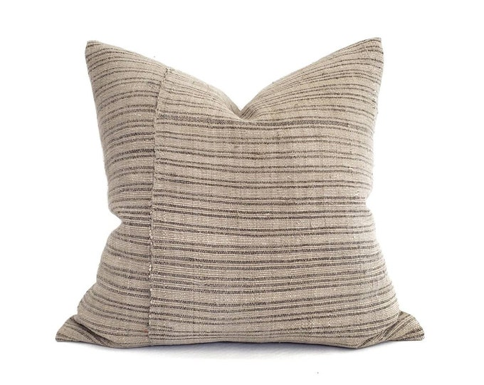 """Featured listing image: 22"""" muted khaki fireweed Chinese hemp linen pillow cover"""
