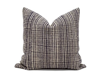 indigo hemp linen hmong pillow, plaid pillow, linen stripe pillow