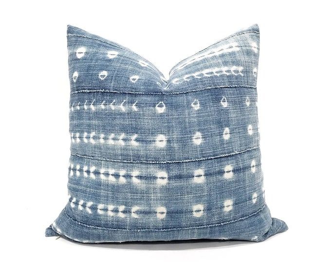 "Featured listing image: 18"" or 19"" faded indigo mudcloth pillow cover"