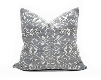 """18"""" muted blue grey ikat pillow cover"""
