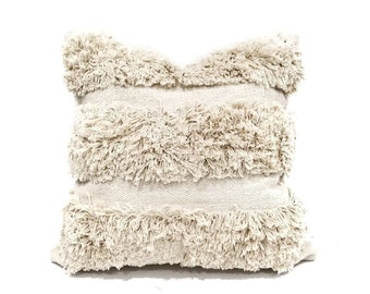 "20"" cream cotton fringe pillow cover"