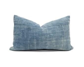 """12""""×19"""" faded indigo mudcloth pillow cover"""