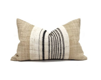 "14""×22"" black stripe hemp linen + camel hemp linen hmong pillow cover"