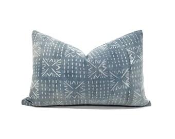 """12""""x18"""" Faded indigo mudcloth pillow cover"""