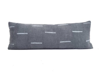 "13""×35"" slate grey mudcloth bed pillow cover"