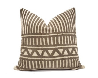 "20"" vintage brown stripe mudcloth pillow cover"