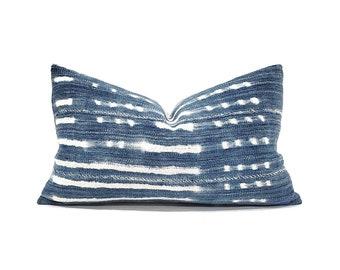"""12""""×20"""" indigo mudcloth pillow cover"""