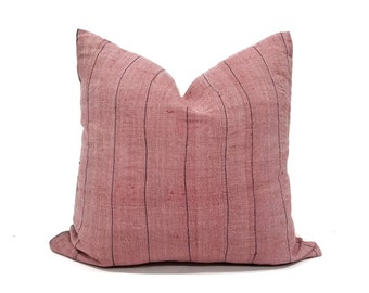 "18.5"" cranberry rose hmong hemp linen pillow cover"
