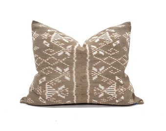 "18""×22"" muted brown Indonesian ikat pillow cover"
