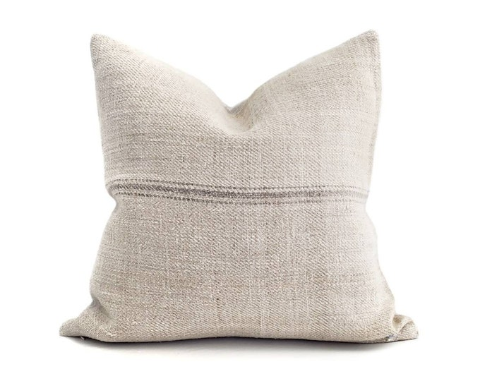 """Featured listing image: 19"""" grey stripe grainsack stripe pillow cover"""