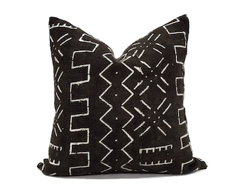 "17"" black mudcloth pillow cover"