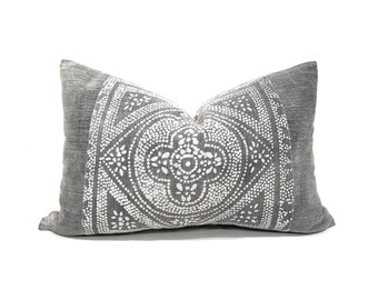 "14""x21"" grey Chinese batik pillow cover"