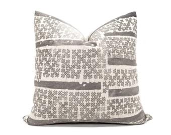 """20"""" grey batik hmong pillow"""