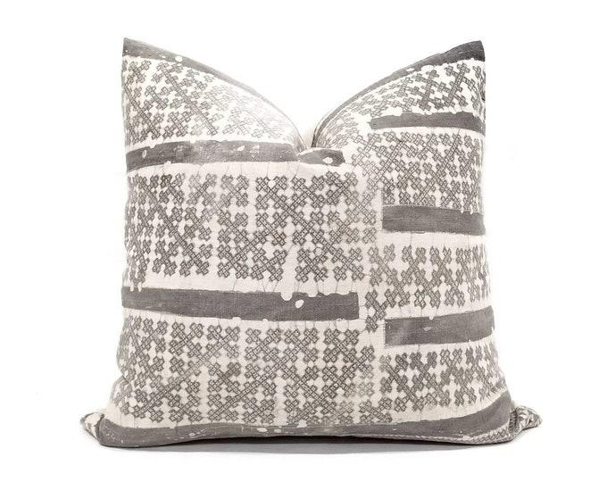 """Featured listing image: 20"""" grey batik hmong pillow"""