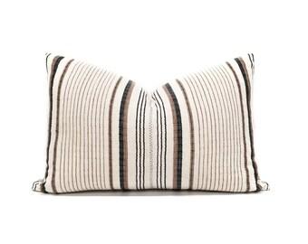 "13.5""×21"" cream/black/rust stripe cotton Asian textile pillow cover"