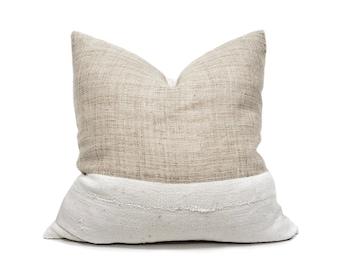 "20"" Natural hemp linen+ mudcloth pillow cover"