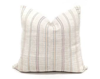 "18"" multicolor stripe on light greyish flax hmong hemp linen pillow cover"