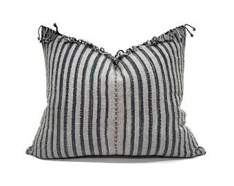 """17""""×20"""" fringe on top grey/indigo stripe Asian textile cotton pillow cover"""