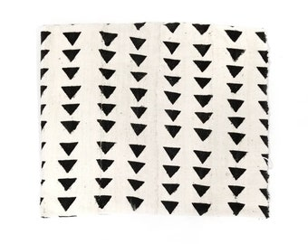 Mudcloth fabric throw, small triangle print cream mudcloth, mudcloth throw, mudcloth fabric, african mudcloth