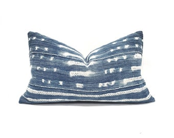 "Indigo mudcloth pillow cover, 12""×20"" indigo mudcloth pillow, African mudcloth pillow, denim pillow cover"