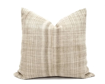 "23"" beige stripe hmong hemp linen pillow cover"