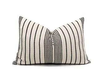 "14.5""×21.5"" cream/charcoal stripe cotton Asian textile pillow cover"