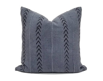 Slate grey small arrow mudcloth pillow cover in various size