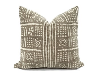 "17.5"" muted brown vintage mudcloth pillow cover"