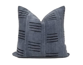 Slate blue grey lines print mudcloth pillow cover in various sizes