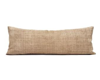 """13""""x35"""" camel/tan hemp linen hmong bed pillow cover"""