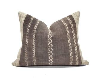 """17""""×21"""" brown hemp linen hmong bone batik print + sand hemp linen pillow cover"""