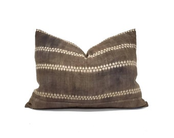 "15""×20"" dark brown hemp linen hmong batik bone print pillow cover"