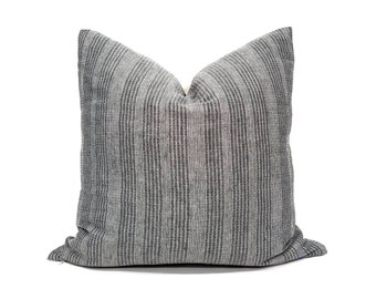 Charcoal grey with embroidery Asian textile cotton pillow cover