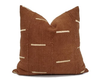 Various sizes rust w/ lines mudcloth pillow cover