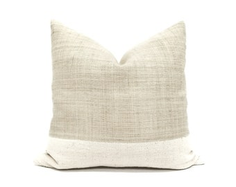 Natural flax hemp linen+ mudcloth pillow cover