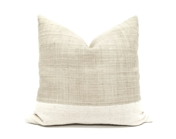 """Featured listing image: 20"""" or 22"""" flax hemp linen+ mudcloth pillow cover"""